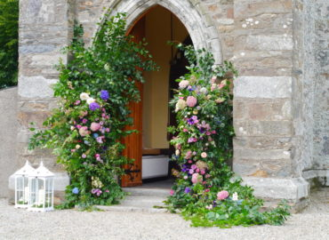 Church entrance floral columns