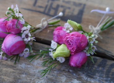 Baby rose and waxflowers buttonholes