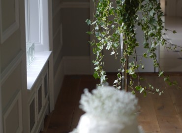 Baby's breath and ivy candelabra