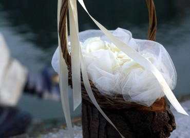 Flowergirl's basket of white rose petals