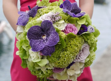 Fresh green purple bridal bouquet