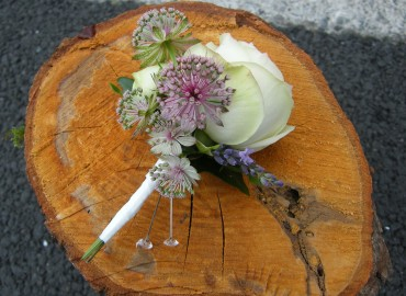 Rose Astrantia and lavender buttonhole
