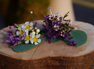 Waxflowers and sea lavender buttonholes