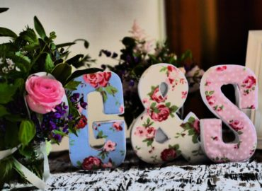 Wedding flowers and letters