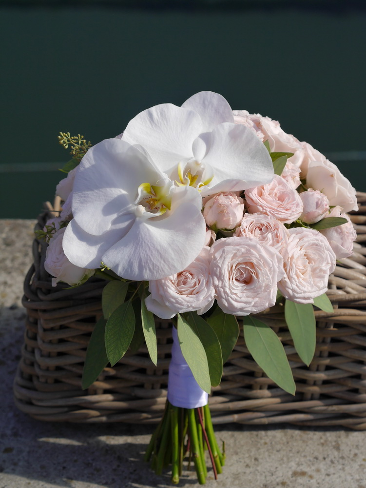 Orchid and rose wedding bouquet