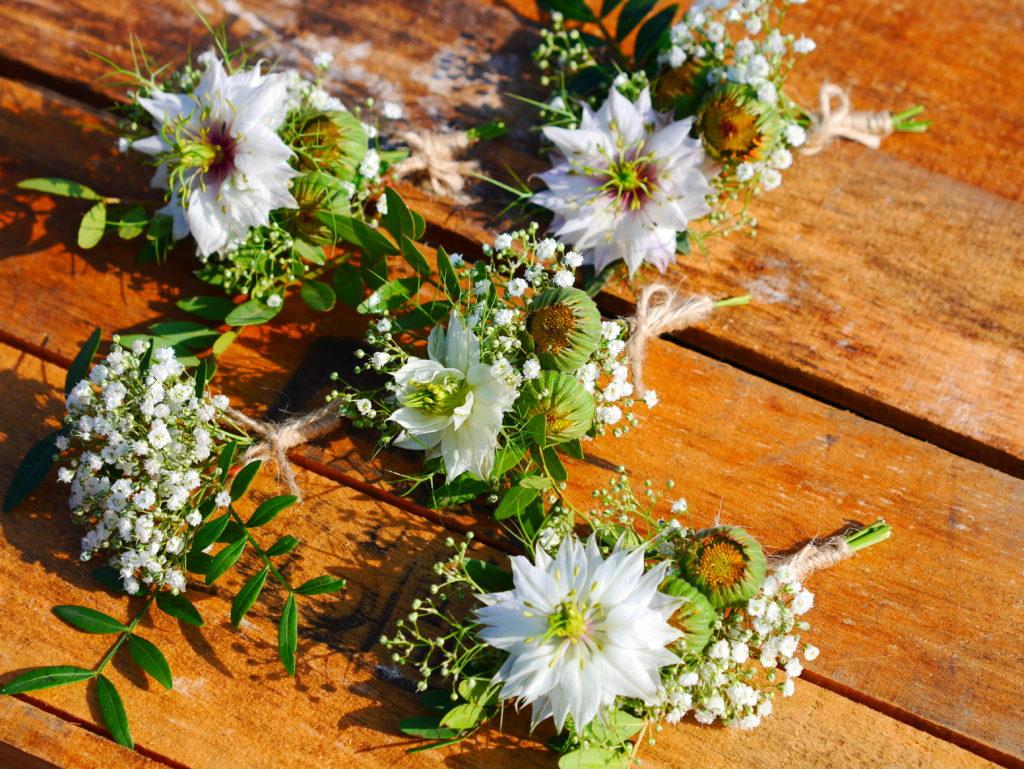 Nigella wild flowers buttonhole