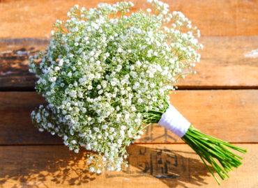Pop Of Orange Wedding - Baby's breath bouquet for bridesmaid