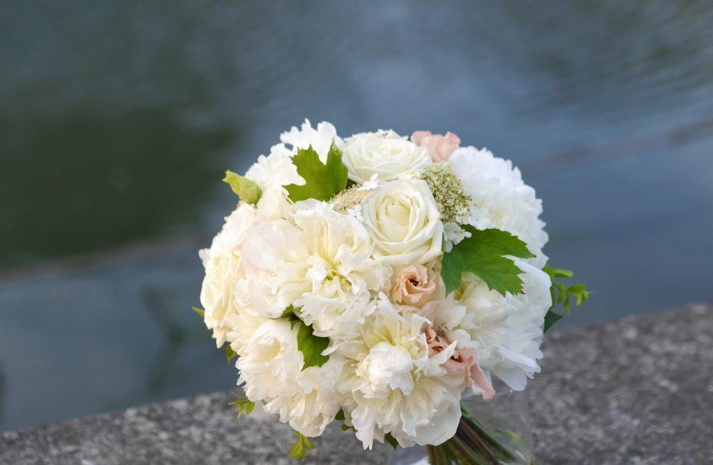White peony bridal flowers