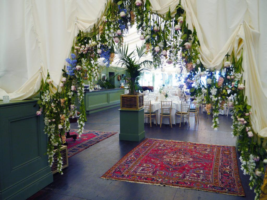 Suspended wedding flowers