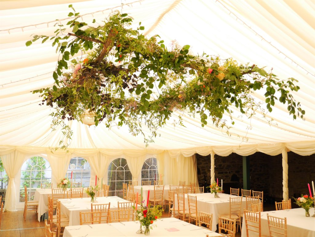 Top table hanging green canopy